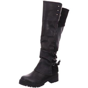 Schuhe Damen Kniestiefel Laufsteg München Stiefel HW190803 BLACK schwarz