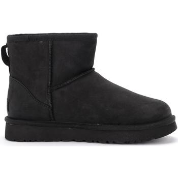 Schuhe Damen Schneestiefel UGG UGG Stiefeletten Classic II Mini in Leder Schwarz Schwarz