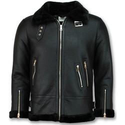 Kleidung Damen Lederjacken / Kunstlederjacken Z Design Shearling Jacket Da Lammy Coat Schwarz