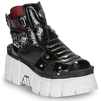 Schuhe Damen Sandalen / Sandaletten New Rock LIYA Schwarz / Weiss