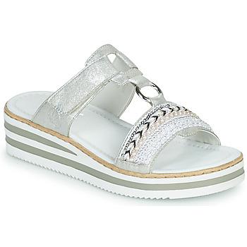 Schuhe Damen Pantoffel Rieker CLOZ Silbern / Weiss