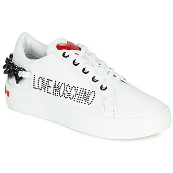 Schuhe Damen Sneaker Low Love Moschino CHAIN HEART Weiss
