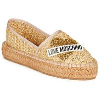 Schuhe Damen Leinen-Pantoletten mit gefloch Love Moschino JA10393G0A Beige