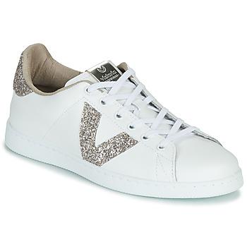 Schuhe Damen Sneaker Low Victoria TENIS PIEL GLITTER Weiss / Rose