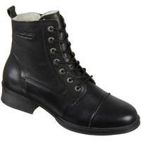 Schuhe Damen Boots Ten Points Stiefeletten Pandora 128007-101 black Leder 128007-101 schwarz