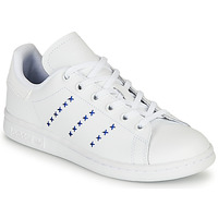 Schuhe Kinder Sneaker Low adidas Originals STAN SMITH J Weiss / Blau