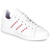 Schuhe Mädchen Sneaker Low adidas Originals STAN SMITH J Weiss / Rot