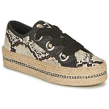 Schuhe Damen Leinen-Pantoletten mit gefloch Tosca Blu TAHITI Schwarz