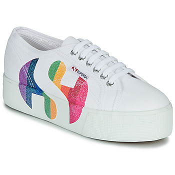 Schuhe Damen Sneaker Low Superga 2790-COTWPRINTEDLOGOGLITTER Weiss