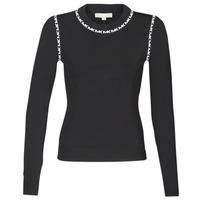 Kleidung Damen Pullover MICHAEL Michael Kors MK TRIM LS CREW Schwarz