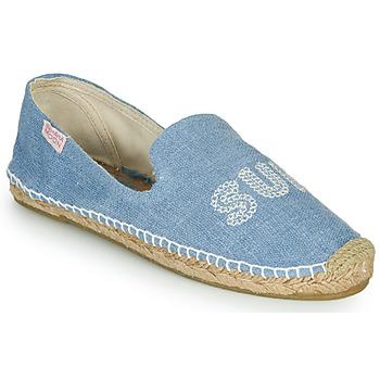 Schuhe Damen Leinen-Pantoletten mit gefloch Banana Moon THAIS BENDIGO Blau