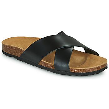 Schuhe Damen Pantoffel Only MADISON CROSS LEATHER Schwarz