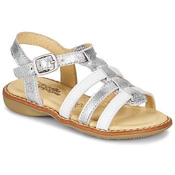 Schuhe Mädchen Sandalen / Sandaletten Citrouille et Compagnie GROUFLA Silbern / Weiss