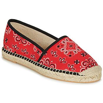 Schuhe Damen Leinen-Pantoletten mit gefloch André HADRIANA Rot