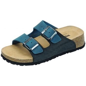 Schuhe Pantoffel Weeger Keil-Pantolette Art. 41121-31 blau/schwarz