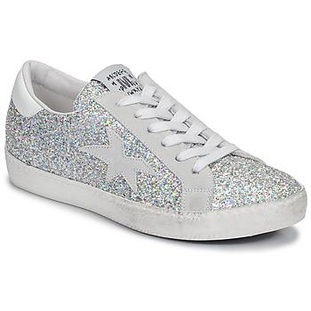 Schuhe Damen Sneaker Low Meline GARAMINE Weiss / Silbern