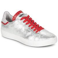 Schuhe Damen Sneaker Low Meline GARILOU Silbern / Rot
