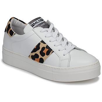 Schuhe Damen Sneaker Low Meline GETSET Weiss / Leopard