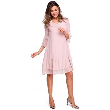 Kleidung Damen Maxikleider Style S160 Boho-Kleid aus Chiffon mit Rüschen - Puder