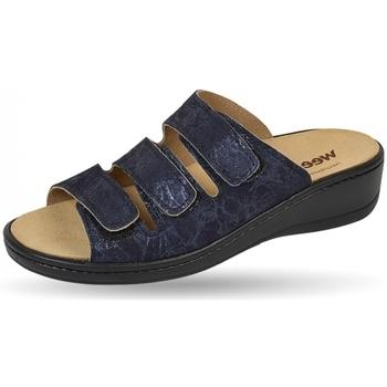 Schuhe Damen Pantoffel Weeger Pantol Art. 14330-34 Wechselfussbett blau met.