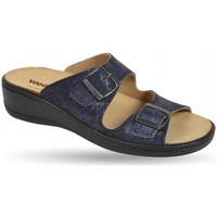 Schuhe Damen Pantoffel Weeger Pantol Art. 14335-34 Wechselfußbett blau met.