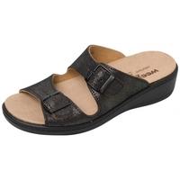 Schuhe Damen Pantoffel Weeger Pantol Art. 14335-24 Wechselfußbett schw. met.