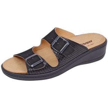 Schuhe Damen Pantoffel Weeger Pantol Art. 14335-25 Wechselfußbett schwarz/kroko