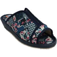Schuhe Damen Hausschuhe Made In Spain 1940 Offene Zehen und elastische Ferse der Fl Blau