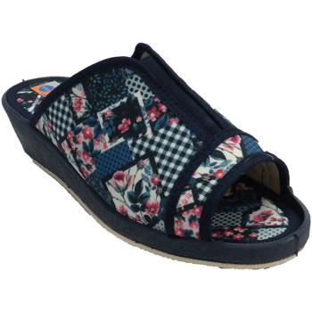 Schuhe Damen Hausschuhe Calzacomodo Offene Zehen und elastische Ferse der Fl Blau