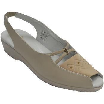 Schuhe Damen Slipper Doctor Cutillas Offener Zeh der Sandelholzfrau und Ferse Beige