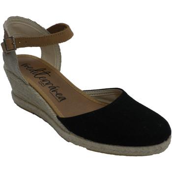 Schuhe Damen Hausschuhe Calzamur Slipper Frau Keilabsatz Knöchelriemen Ca Schwarz