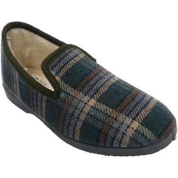 Schuhe Herren Hausschuhe Calzacomodo Karierter Schuh mit geschlossenem Wollfu Beige