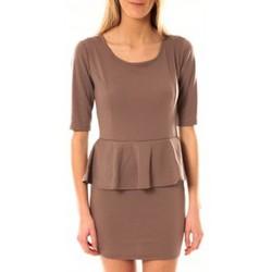 Kleidung Damen Kurze Kleider Tcqb Robe Moda Fashion Taupe Braun
