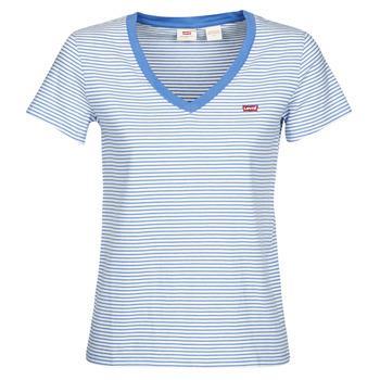 Kleidung Damen T-Shirts Levi's PERFECT VNECK Weiss / Blau