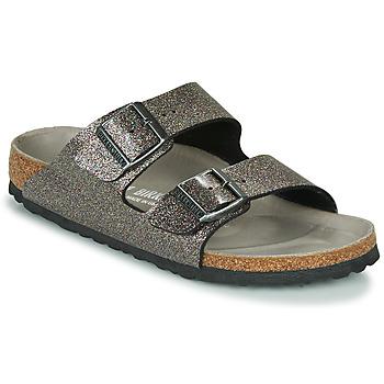 Schuhe Damen Pantoffel Birkenstock ARIZONA Schwarz / Silbern