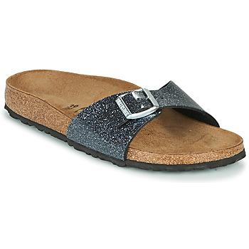 Schuhe Damen Pantoffel Birkenstock MADRID Schwarz / Silbern