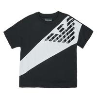 Kleidung Jungen T-Shirts Emporio Armani Blaise Schwarz / Weiss