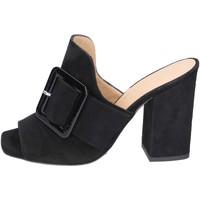 Schuhe Damen Pantoffel Broccoli sandalen wildleder schwarz