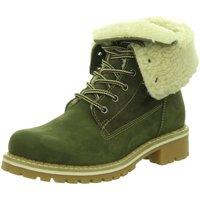 Schuhe Damen Stiefel Black Stiefeletten SchnUErstiefel Sportboden WF 262305000/722 grün