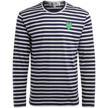 Kleidung Herren Langarmshirts Comme Des Garcons langärmliges T-Shirt in blau-weiß Bunt