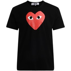 Kleidung Herren T-Shirts Comme Des Garcons Herren T-Shirt in mit rotem Herzchen Schwarz