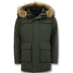 Kleidung Herren Parkas Enos Winterjacke Parka Mit Echtpelzkragen Grün
