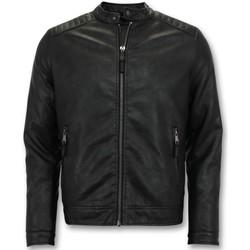 Kleidung Herren Lederjacken / Kunstlederjacken Enos Biker Jacke Kunstlederjacke Schwarz