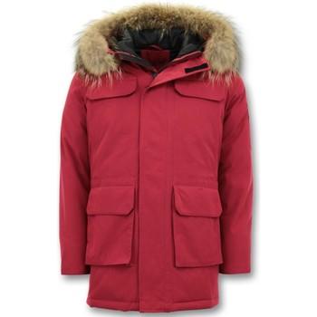 Kleidung Herren Parkas Enos Parka Winterjacke Mit Echtpelzkragen Rot