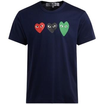 Kleidung Herren T-Shirts Comme Des Garcons T-Shirt aus Blauer Baumwolle mit Blue