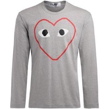Kleidung Herren Langarmshirts Comme Des Garcons Herren Langärmeliges Graues T-Shirt Grau