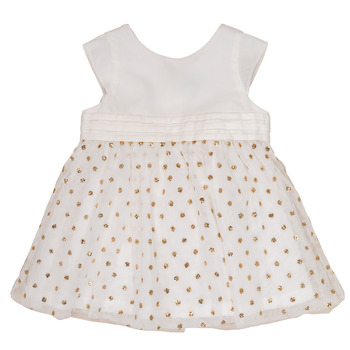 Kleidung Mädchen Kurze Kleider Petit Bateau FAVORITE Weiss / Goldfarben