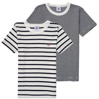 Kleidung Jungen T-Shirts Petit Bateau 53333 Weiss / Blau