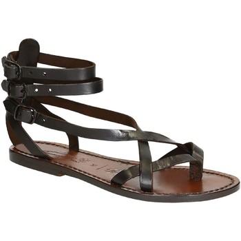 Schuhe Damen Sandalen / Sandaletten Gianluca - L'artigiano Del Cuoio 564 D MORO CUOIO Testa di Moro