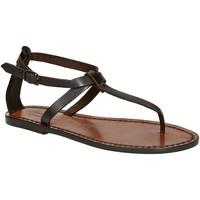 Schuhe Damen Sandalen / Sandaletten Gianluca - L'artigiano Del Cuoio 582 D MORO CUOIO Testa di Moro